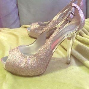 Rainbow glitter silver chrome heels 👠